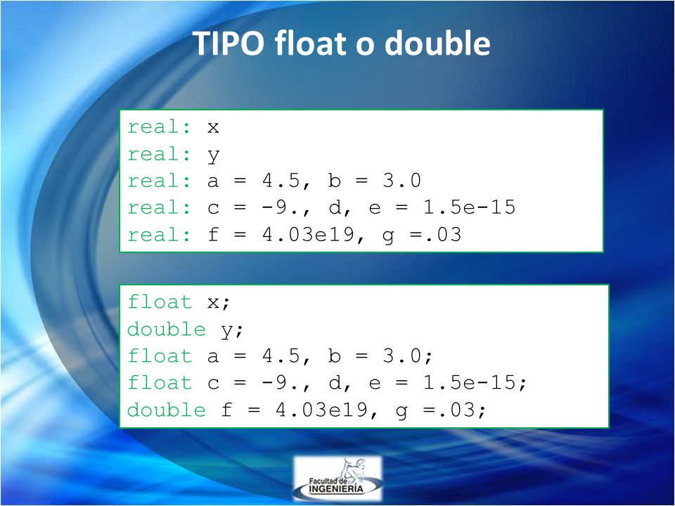 TIPO float o double real: x real: y real: a = 4.5, b = 3.0