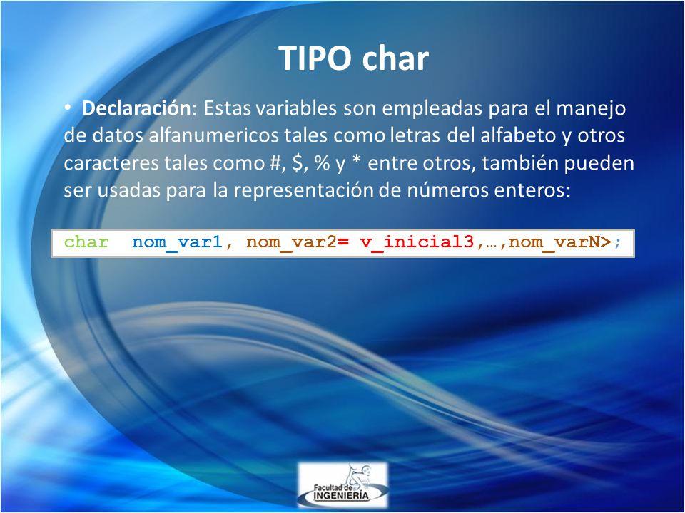 TIPO char