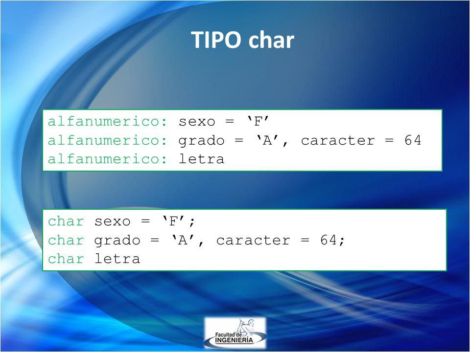 TIPO char alfanumerico: sexo = 'F'