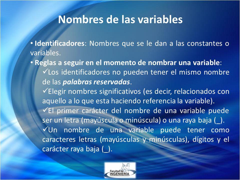 Nombres de las variables