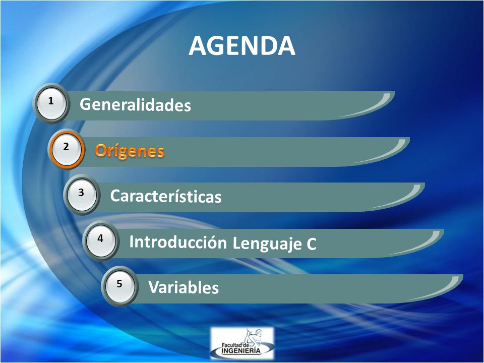 AGENDA Generalidades Orígenes Orígenes Características