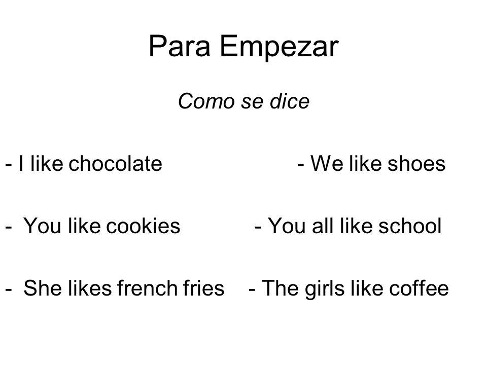 Para Empezar Como se dice - I like chocolate - We like shoes