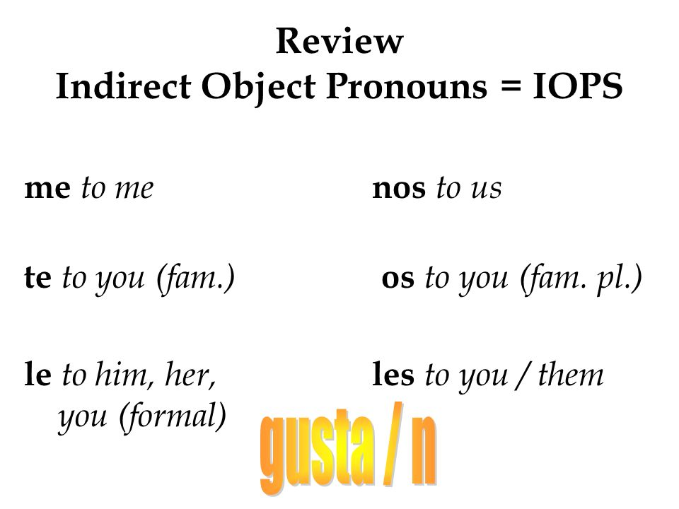 Review Indirect Object Pronouns = IOPS