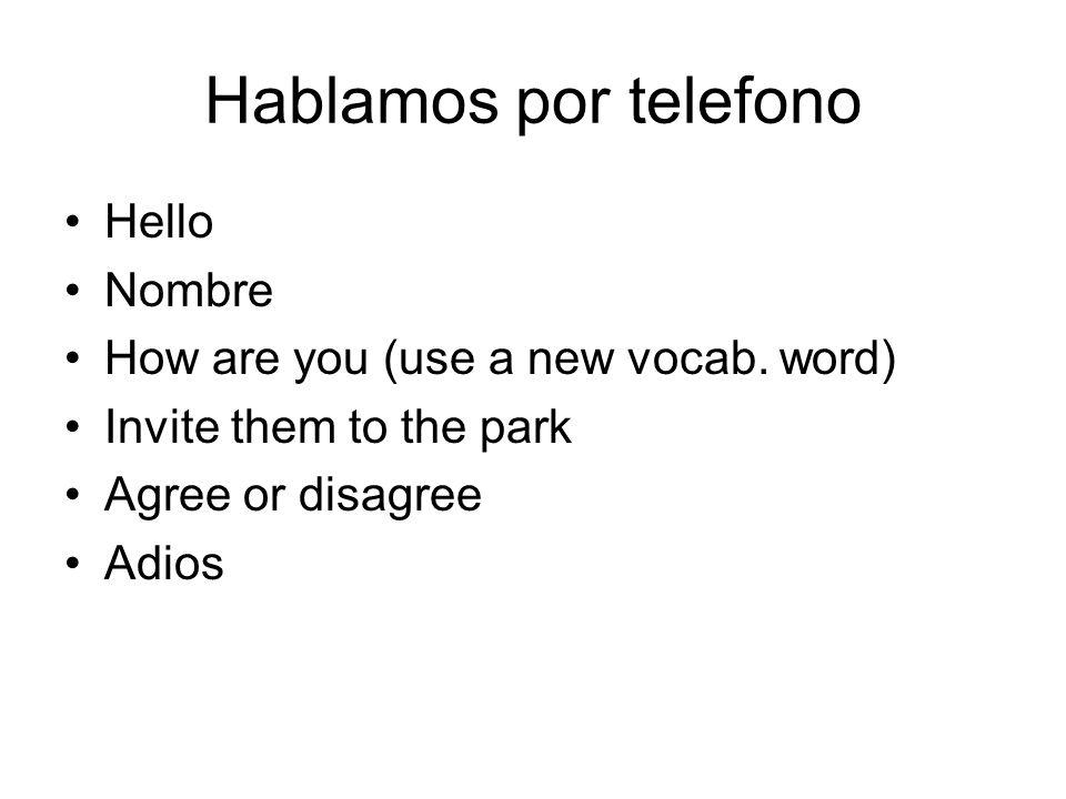 Hablamos por telefono Hello Nombre How are you (use a new vocab. word)