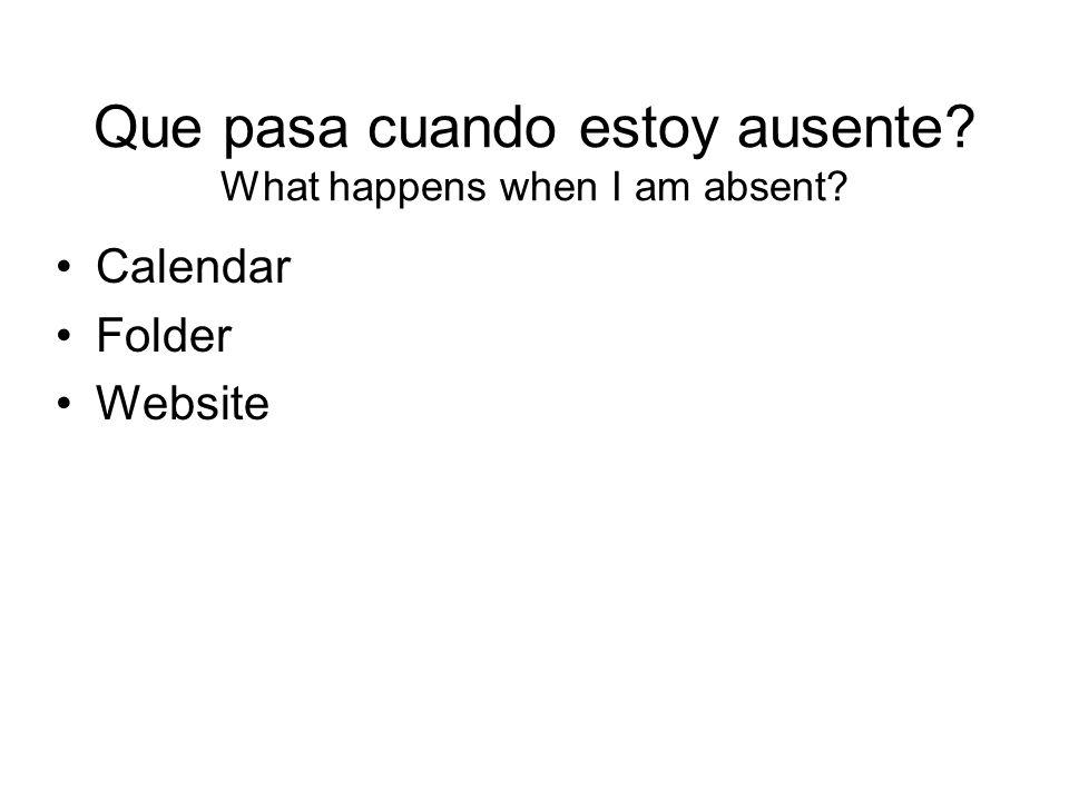 Que pasa cuando estoy ausente What happens when I am absent
