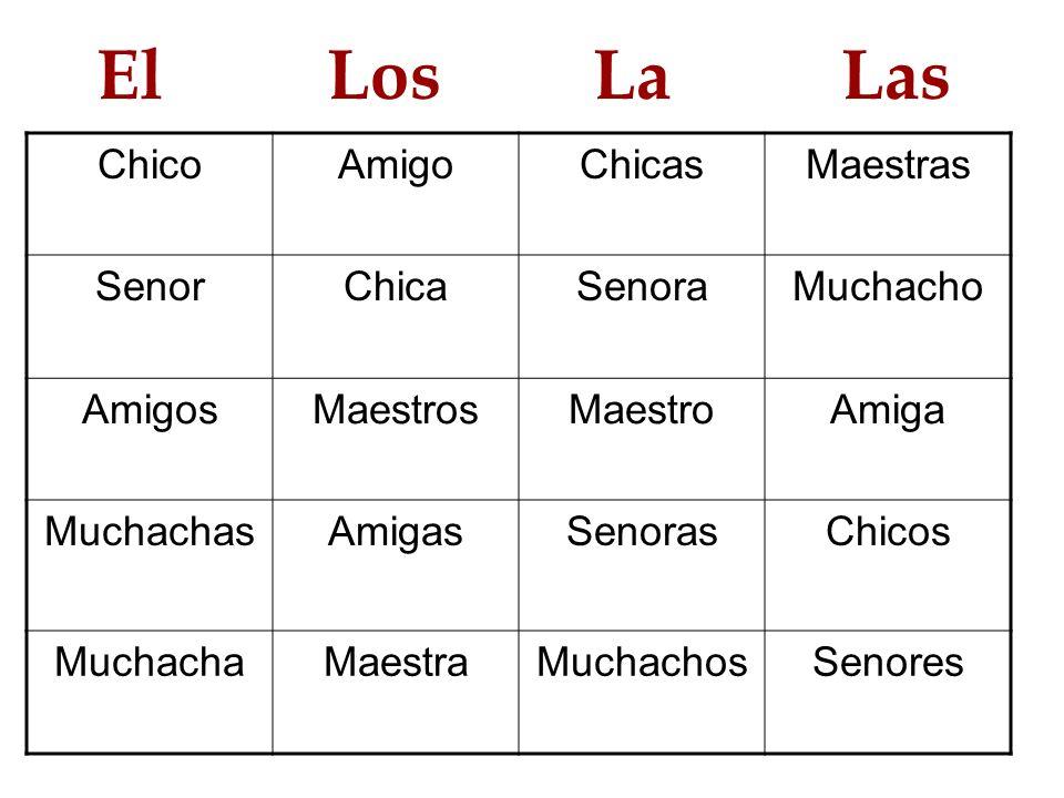 El Los La Las Chico Amigo Chicas Maestras Senor Chica Senora Muchacho