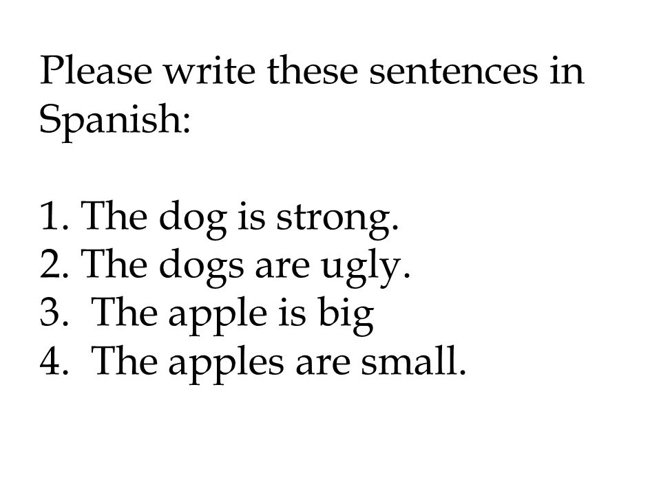 Please write these sentences in Spanish: 1. The dog is strong. 2