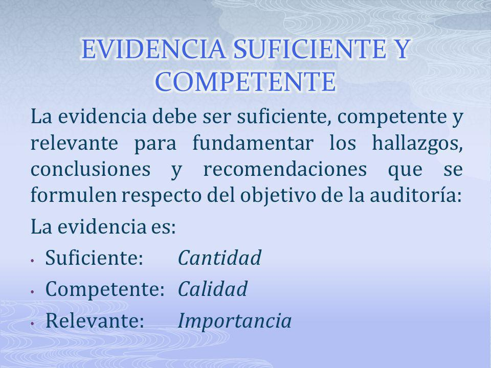 EVIDENCIA SUFICIENTE Y COMPETENTE