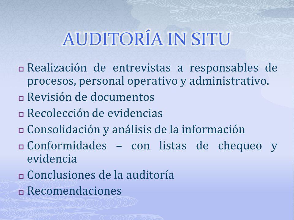 AUDITORÍA IN SITU Realización de entrevistas a responsables de procesos, personal operativo y administrativo.