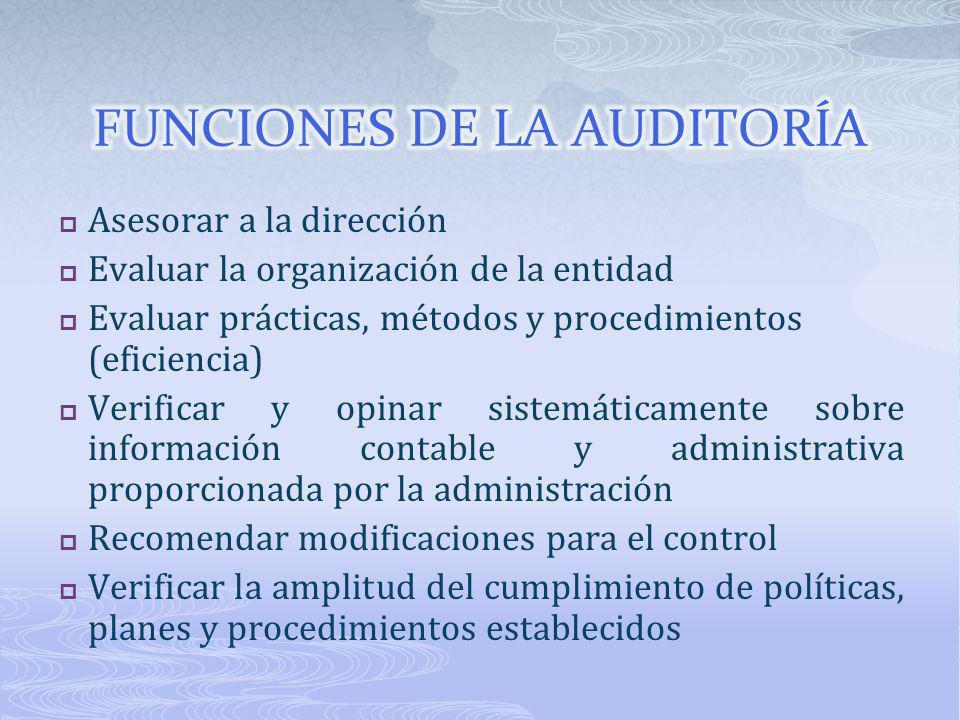 FUNCIONES DE LA AUDITORÍA