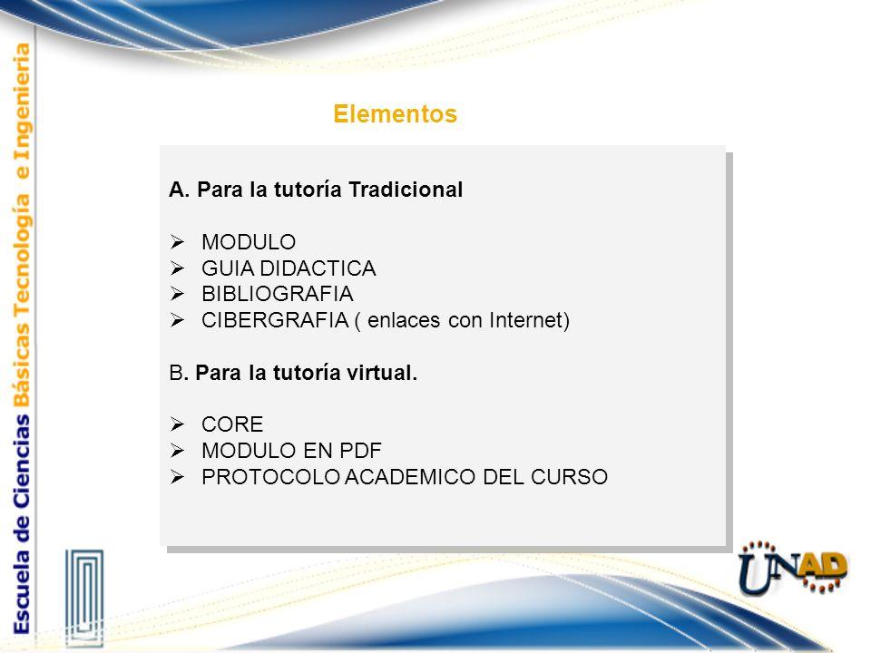 Elementos A. Para la tutoría Tradicional MODULO GUIA DIDACTICA