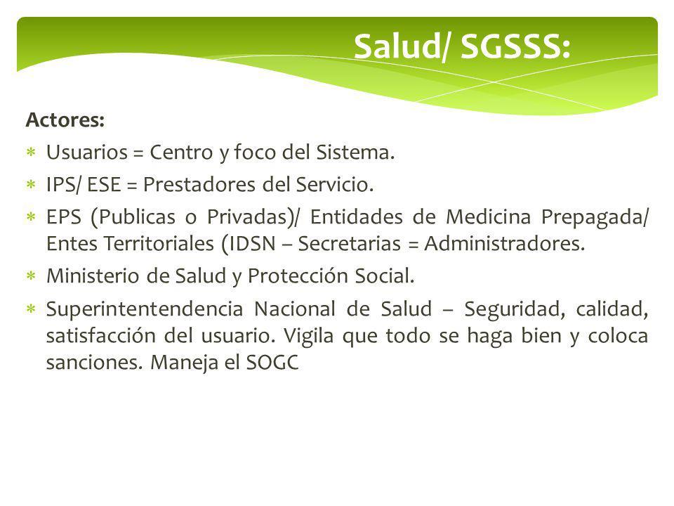 Salud/ SGSSS: Actores: Usuarios = Centro y foco del Sistema.