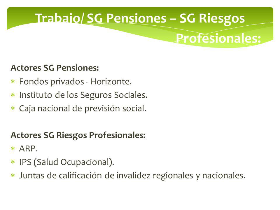 Trabajo/ SG Pensiones – SG Riesgos