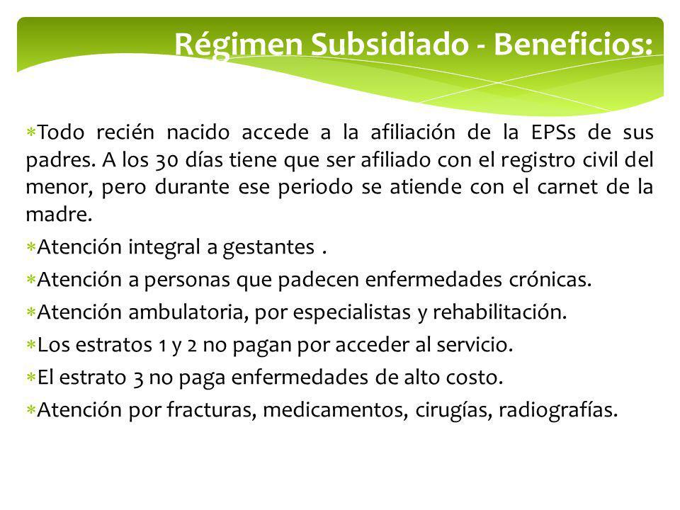 Régimen Subsidiado - Beneficios: