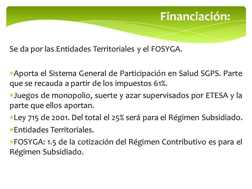 Financiación: Se da por las Entidades Territoriales y el FOSYGA.