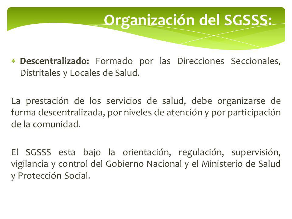 Organización del SGSSS: