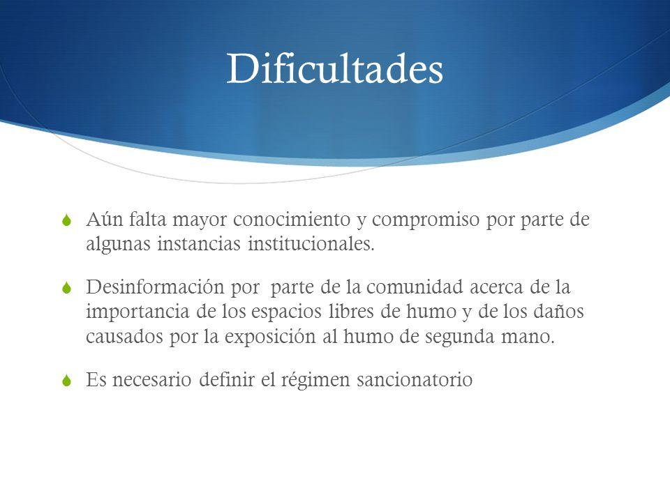 Dificultades Aún falta mayor conocimiento y compromiso por parte de algunas instancias institucionales.