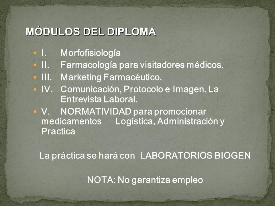 La práctica se hará con LABORATORIOS BIOGEN NOTA: No garantiza empleo