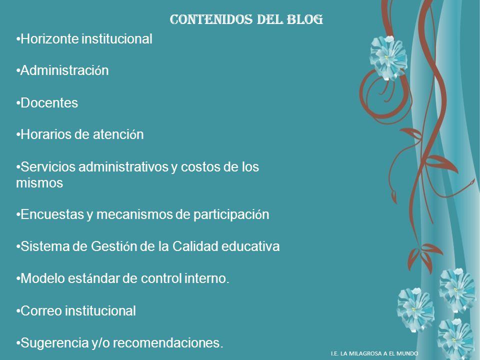 CONTENIDOS DEL BLOG Horizonte institucional Administración Docentes