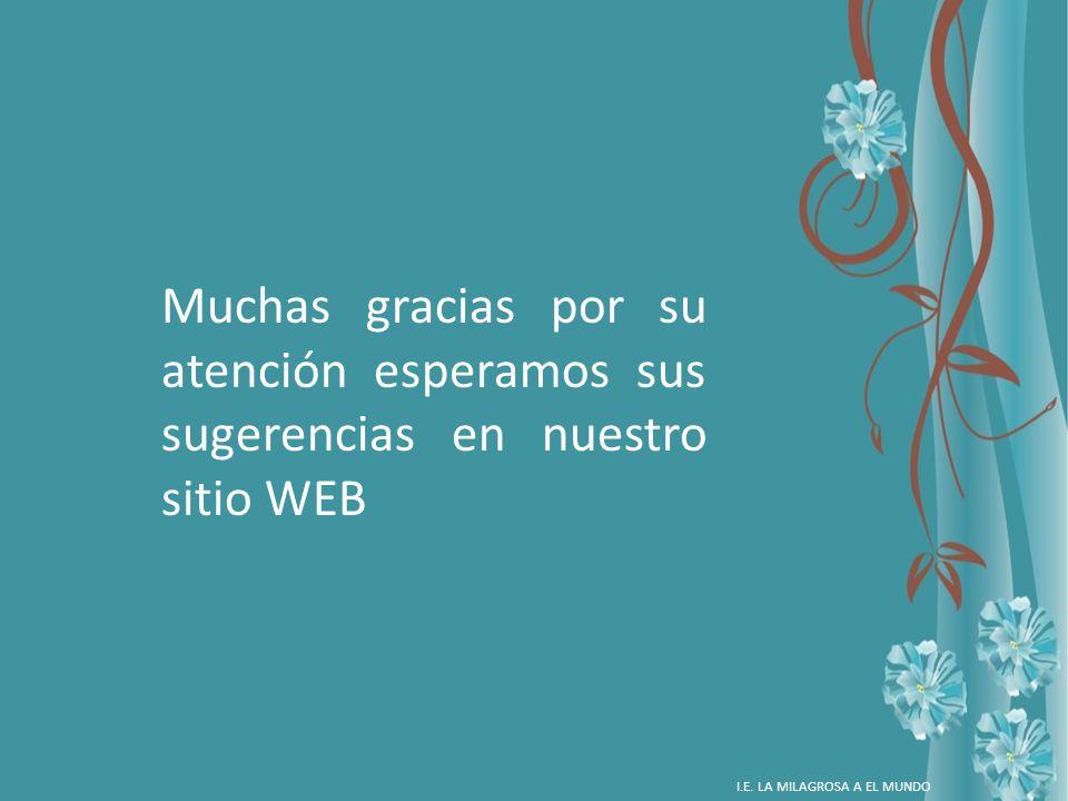 Muchas gracias por su atención esperamos sus sugerencias en nuestro sitio WEB
