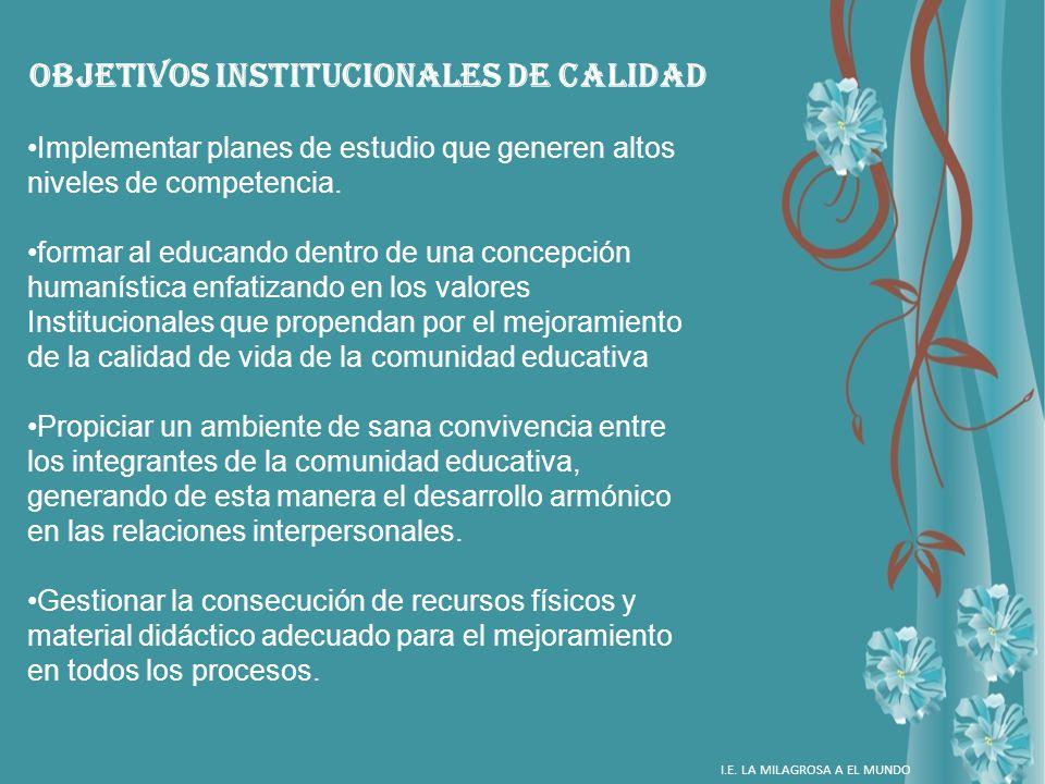 OBJETIVOS INSTITUCIONALES DE CALIDAD