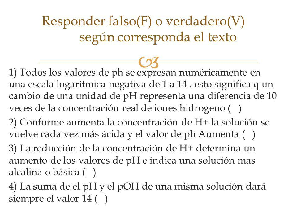 Responder falso(F) o verdadero(V) según corresponda el texto