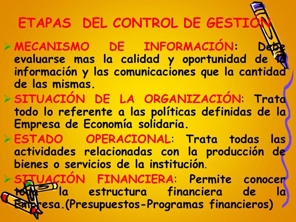 ETAPAS DEL CONTROL DE GESTIÓN