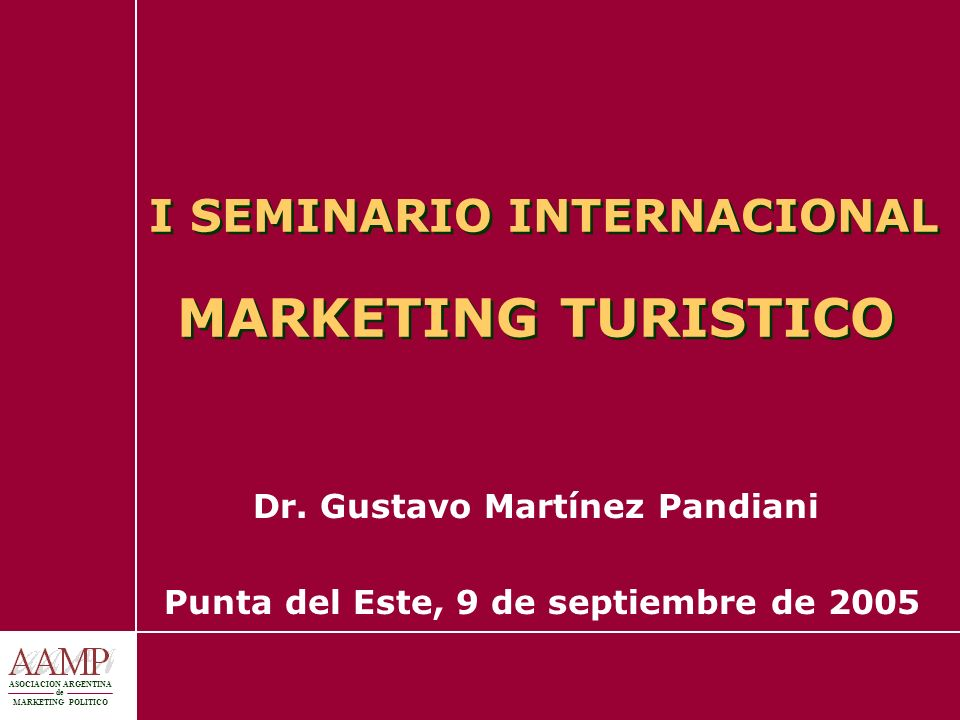I SEMINARIO INTERNACIONAL MARKETING TURISTICO