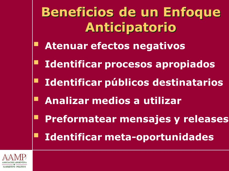 Beneficios de un Enfoque Anticipatorio