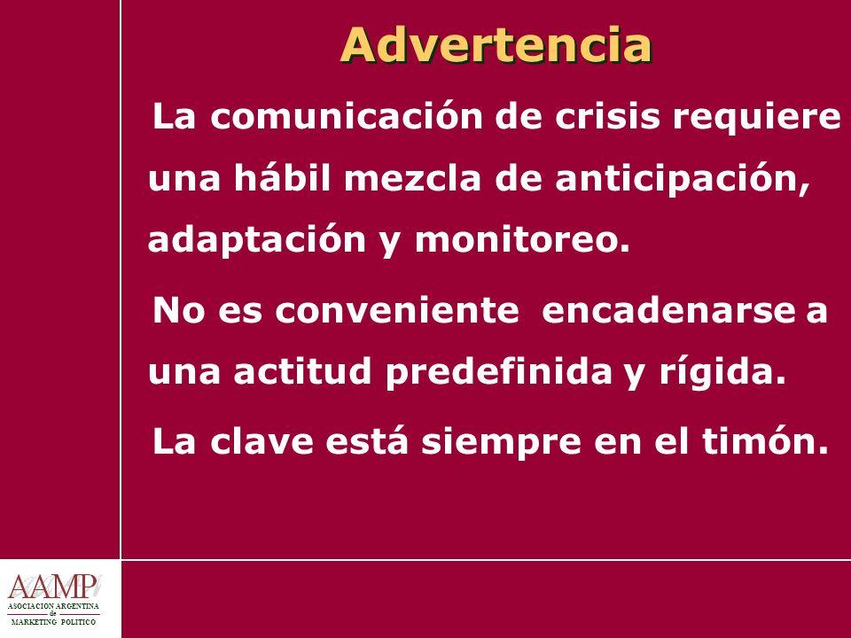 Advertencia La comunicación de crisis requiere una hábil mezcla de anticipación, adaptación y monitoreo.
