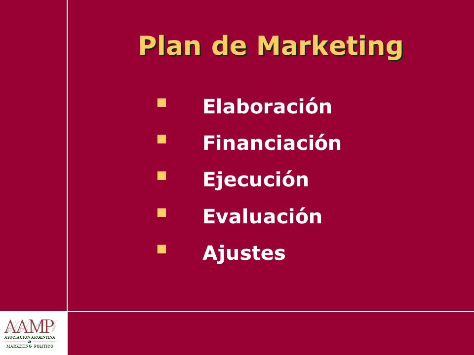 Plan de Marketing Elaboración Financiación Ejecución Evaluación