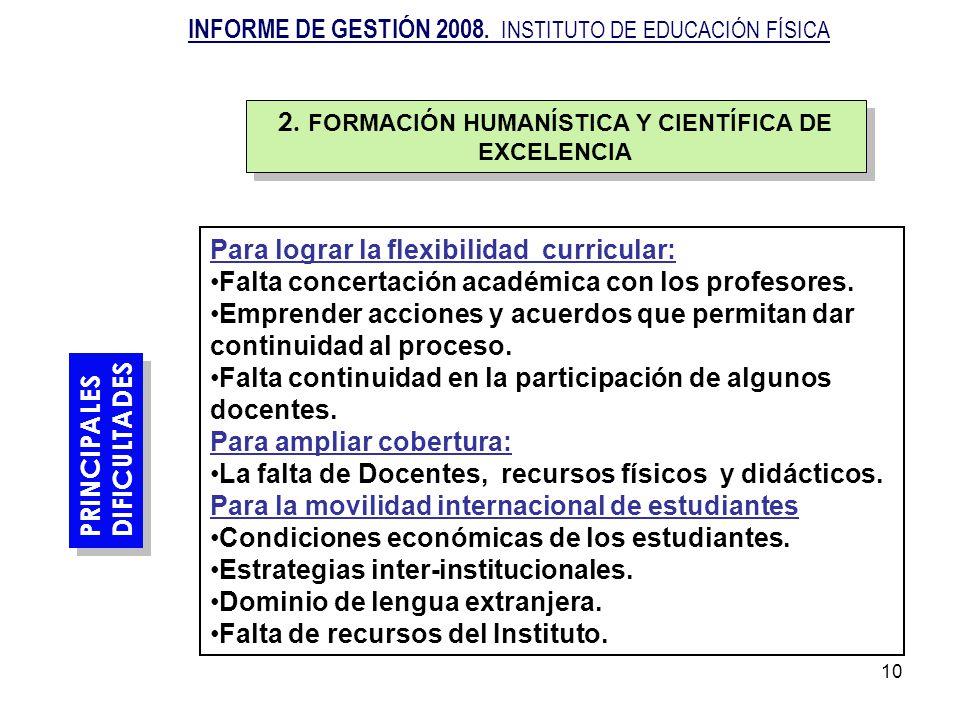 2. FORMACIÓN HUMANÍSTICA Y CIENTÍFICA DE EXCELENCIA