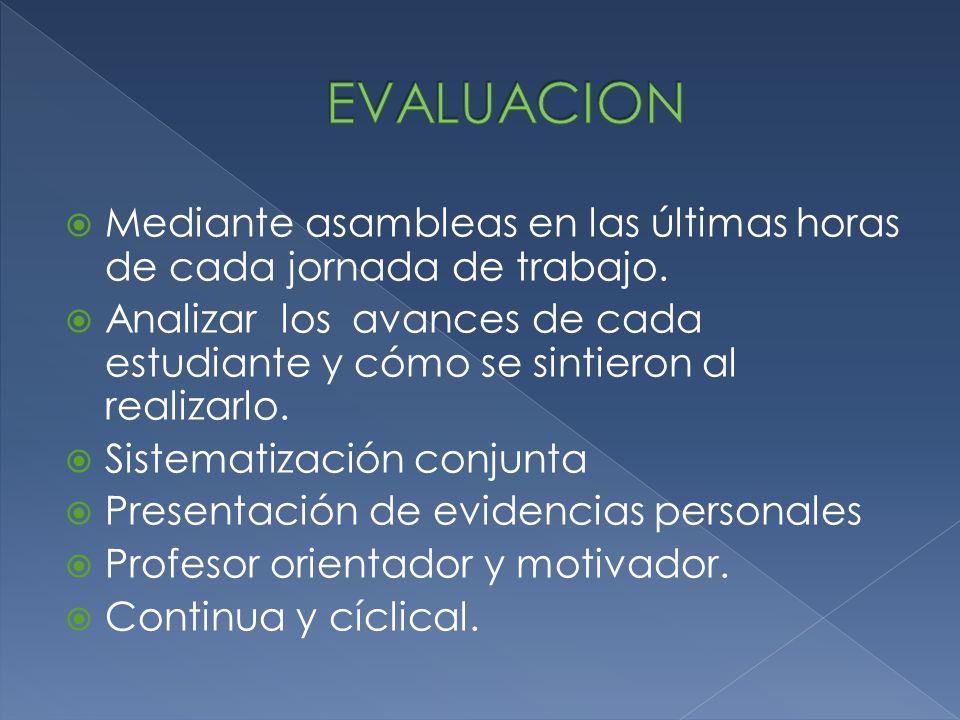 EVALUACION Mediante asambleas en las últimas horas de cada jornada de trabajo.