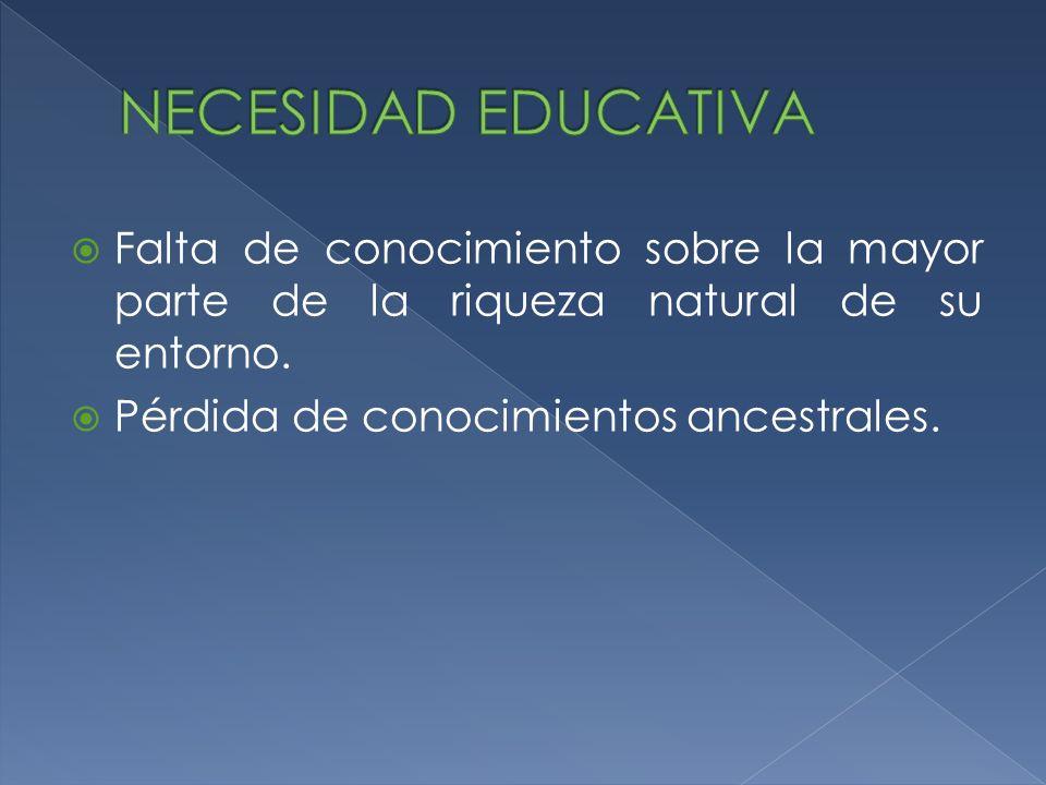 NECESIDAD EDUCATIVA Falta de conocimiento sobre la mayor parte de la riqueza natural de su entorno.