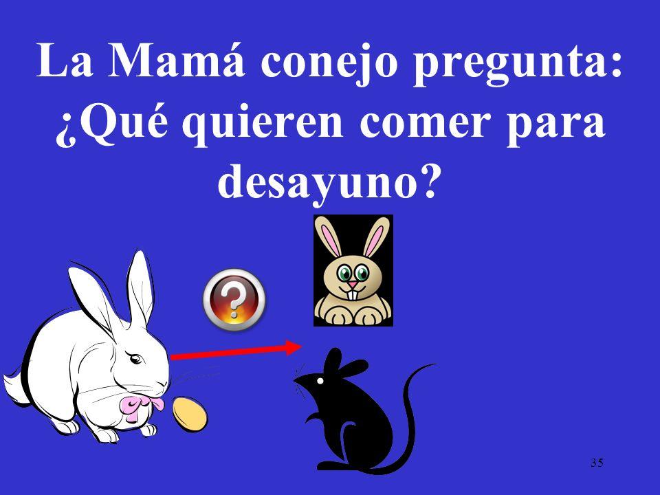 La Mamá conejo pregunta: ¿Qué quieren comer para desayuno