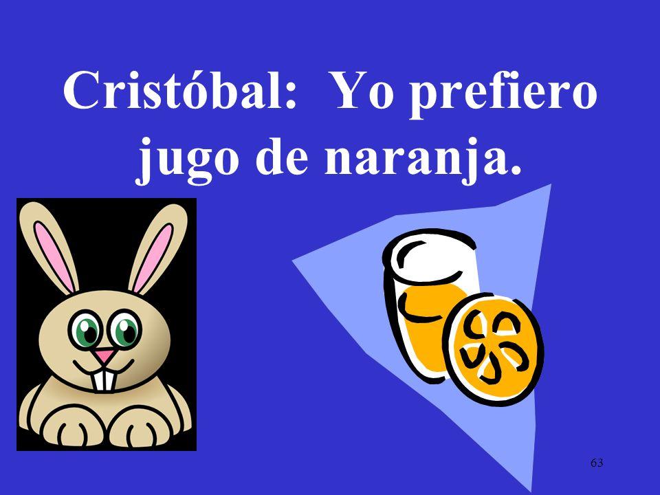 Cristóbal: Yo prefiero jugo de naranja.