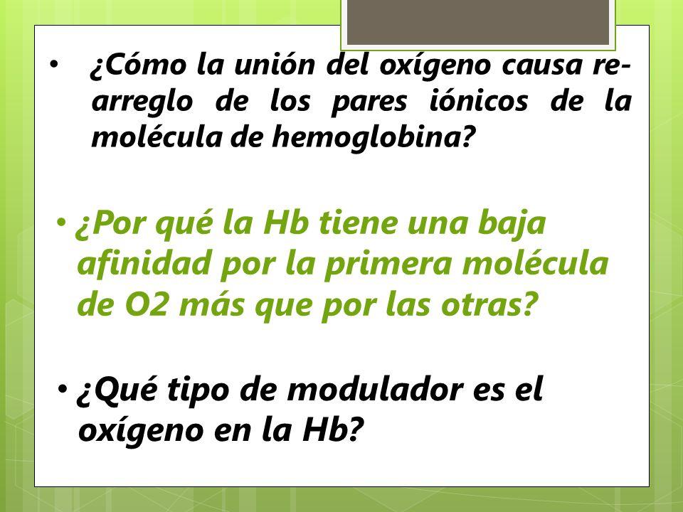 ¿Qué tipo de modulador es el oxígeno en la Hb