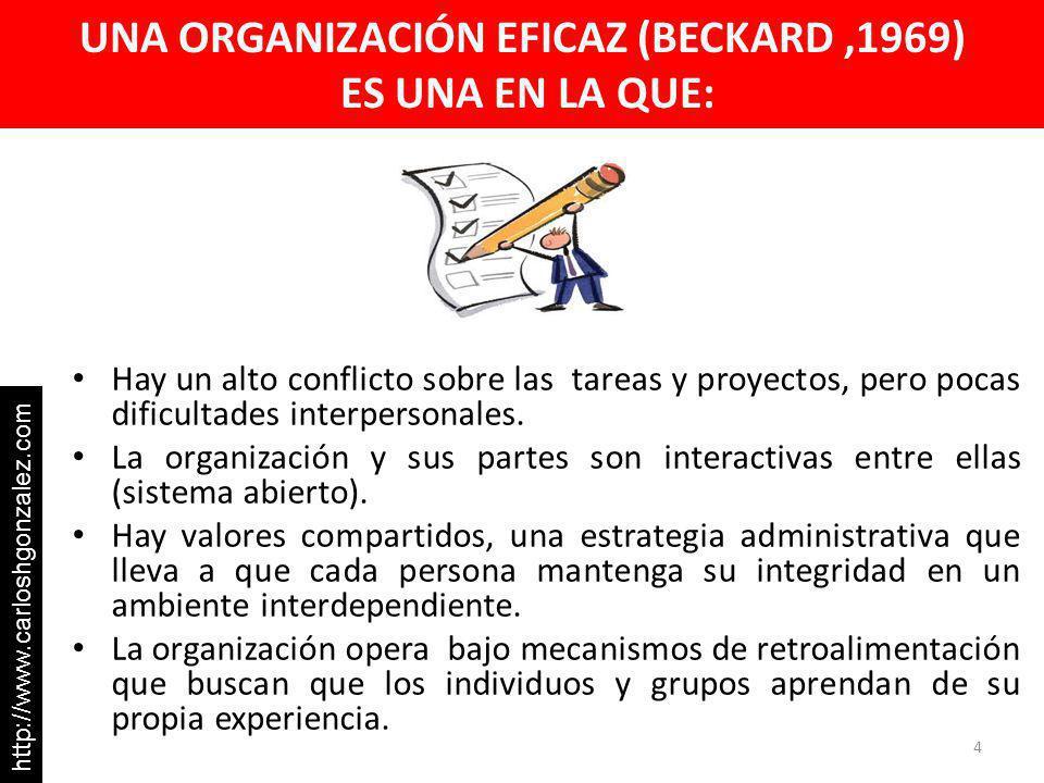 UNA ORGANIZACIÓN EFICAZ (BECKARD ,1969) ES UNA EN LA QUE: