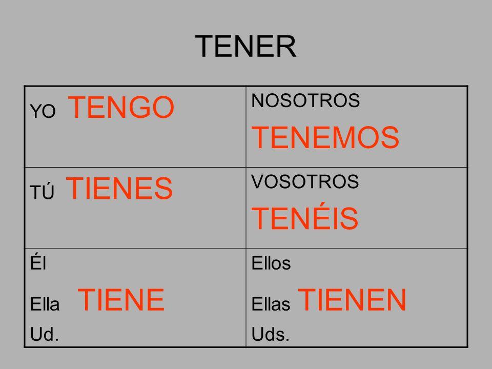 TENER TENEMOS TENÉIS YO TENGO NOSOTROS TÚ TIENES VOSOTROS Él