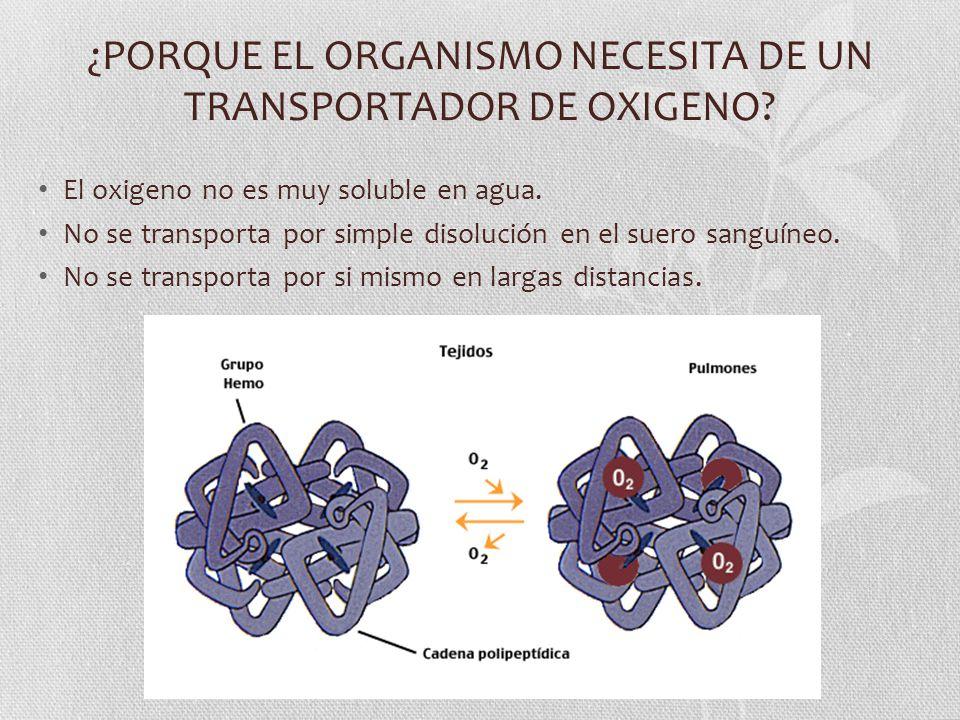 ¿PORQUE EL ORGANISMO NECESITA DE UN TRANSPORTADOR DE OXIGENO