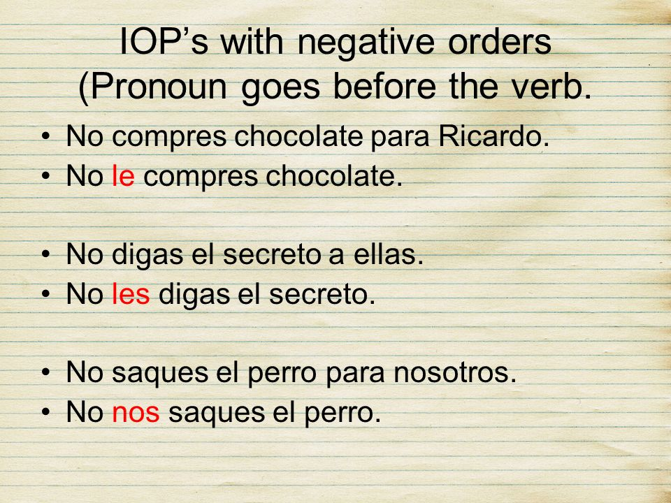 IOP's with negative orders (Pronoun goes before the verb.