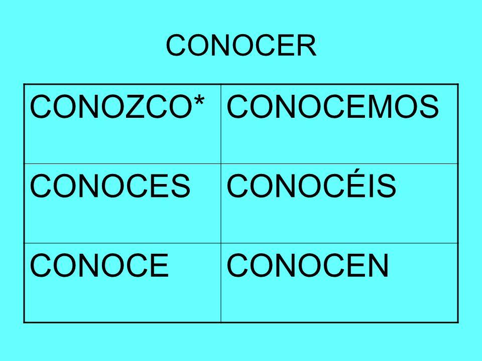 CONOCER CONOZCO* CONOCEMOS CONOCES CONOCÉIS CONOCE CONOCEN