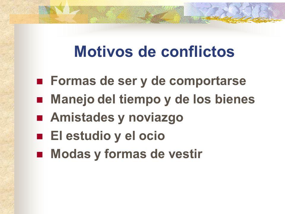 Motivos de conflictos Formas de ser y de comportarse