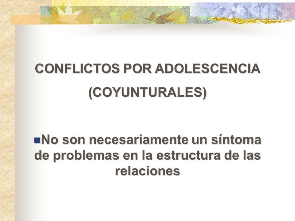 CONFLICTOS POR ADOLESCENCIA