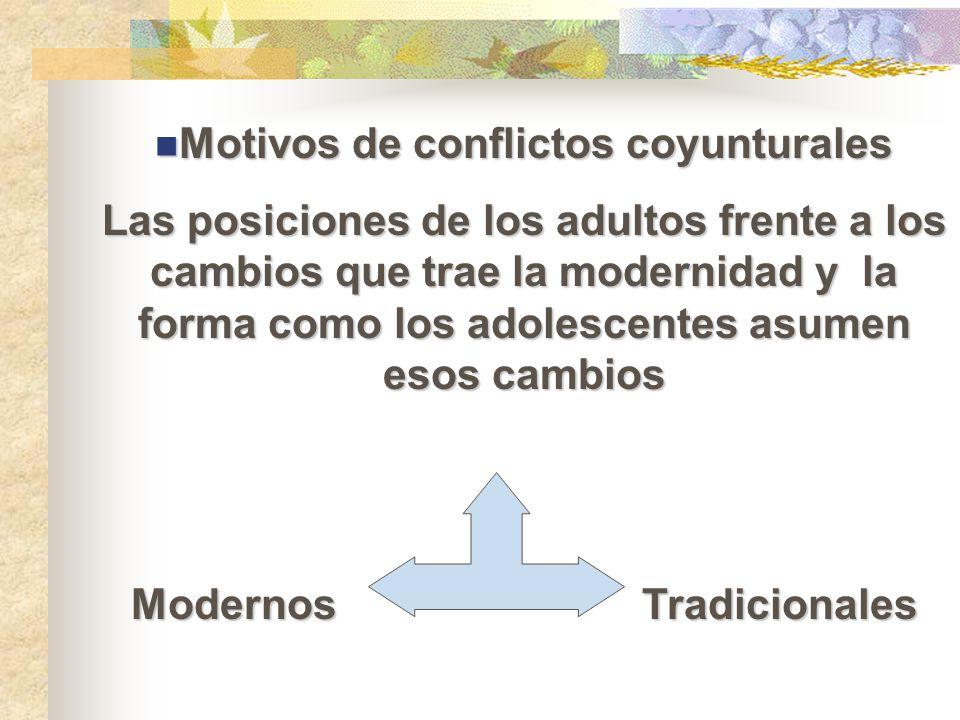 Motivos de conflictos coyunturales Modernos Tradicionales