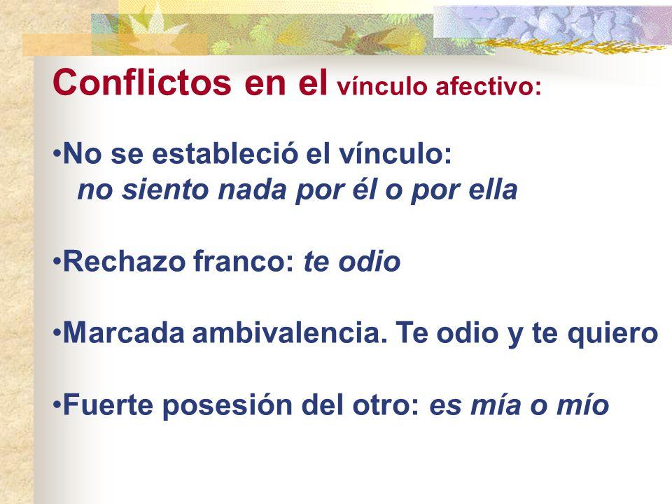 Conflictos en el vínculo afectivo: