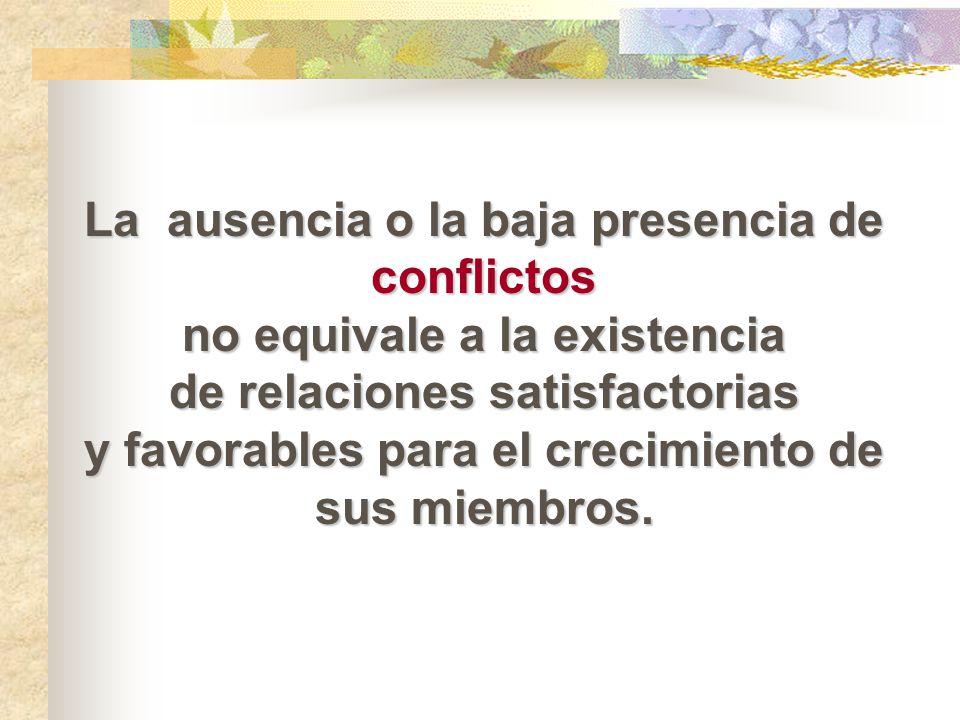 La ausencia o la baja presencia de conflictos