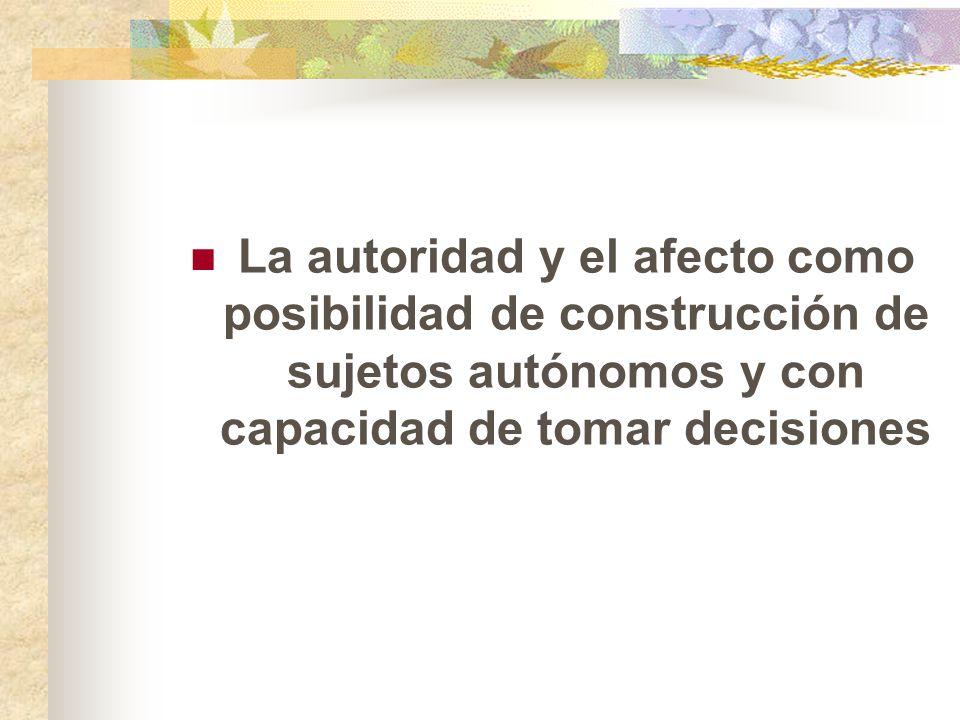 La autoridad y el afecto como posibilidad de construcción de sujetos autónomos y con capacidad de tomar decisiones