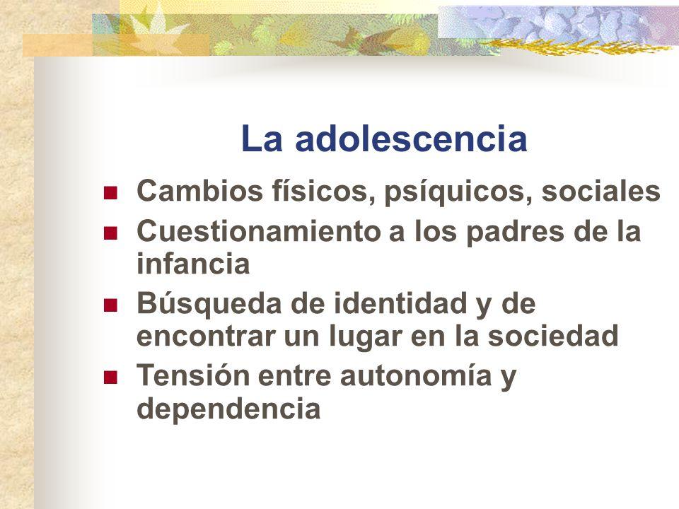 La adolescencia Cambios físicos, psíquicos, sociales