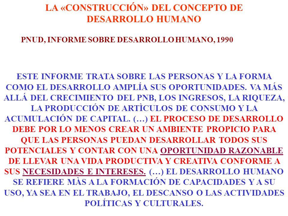LA «CONSTRUCCIÓN» DEL CONCEPTO DE DESARROLLO HUMANO